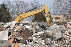 Demolition of an old building in the city Stock Images