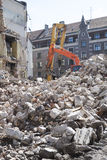 Demolition of an old building. With heavy machinery for new construction Stock Photography