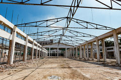 Demolition of an old building with roof only Stock Photography