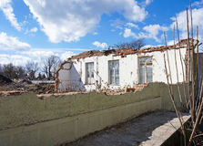 Demolition of an old building. In spring Royalty Free Stock Photos