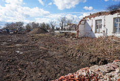 Demolition of an old building. In spring Royalty Free Stock Photo