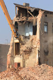 Demolition of the old building in the town Royalty Free Stock Photo