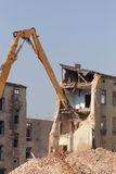 Demolition of the old building in the town Stock Photos