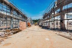 Demolition of  old buildings under sky. Demolition of  old buildings under blue sky Stock Photography