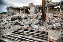 Demolition of old derelict buildings with jackhamm Stock Image