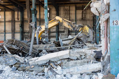 Demolition of the old factory building Stock Photos