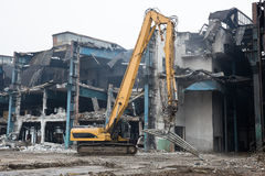 Demolition of the old factory building - Poland Royalty Free Stock Photos