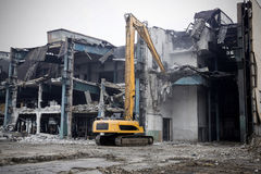 Demolition of the old factory building - Poland Stock Image