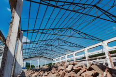 Demolition of an old factory building. With steel roof Stock Images