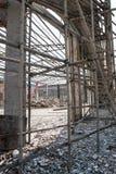 Demolition of old factory building vertical. Demolition of an old factory building vertical Stock Photos