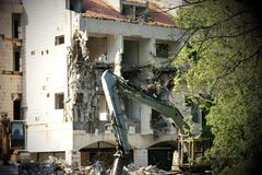 Demolition of an old hotel royalty free stock photos