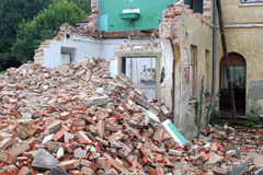 Demolition of an old house, half done Royalty Free Stock Photography