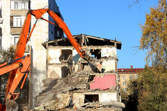 Demolition of an old house Stock Images