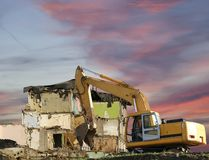 Demolition of an old house on the sky with clouds. Moscow, Russia.  Stock Photo