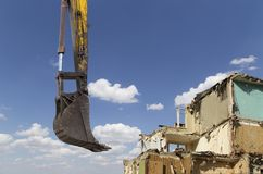 Demolition of an old house on the sky with clouds. Moscow, Russia.  Stock Images