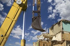 Demolition of an old house on the sky with clouds. Moscow, Russia.  Royalty Free Stock Photos