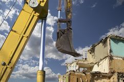 Demolition of an old house on the sky with clouds. Moscow, Russia.  Royalty Free Stock Image