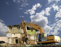 Demolition of an old house on the sky with clouds. Moscow, Russia.  Stock Image