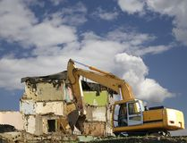 Demolition of an old house on the sky with clouds. Moscow, Russia.  Stock Photography