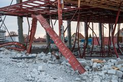 Demolition of an old industrial building. In Vordingborg Denmark Stock Photo