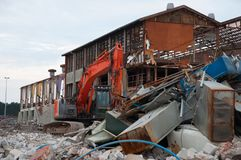 Demolition of an old industrial building. In Vordingborg Denmark Stock Photos