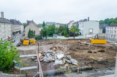 Demolition, pile of rubble, construction site Royalty Free Stock Images