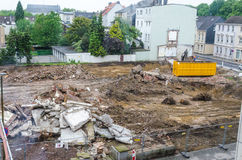 Demolition, pile of rubble, construction site. Demolition of an old office building in a city center Stock Photo