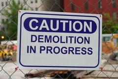 Demolition in progress stock image