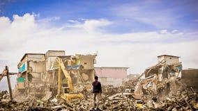 Demolition of the prostitution area in Kalijodo, Jakarta. Stock Image