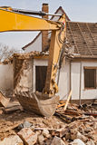 Demolition of a residential building Royalty Free Stock Images