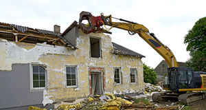 Demolition of a residential house Royalty Free Stock Image