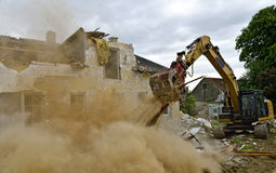 Demolition of a residential house Royalty Free Stock Images