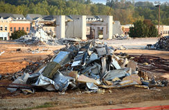 Demolition rubble. Piles of rubble at a building demolition site Stock Images