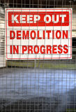 Demolition sign Stock Photos