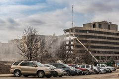 Demolition of Silver Cross Hospital. On Route 6 in Joliet, Illinois Stock Photos