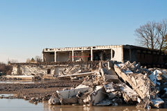 Demolition Site. An old school building in the process of being torn down Royalty Free Stock Photo