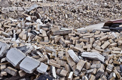 Demolition site. Showing only bricks piled up Royalty Free Stock Images