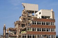 Demolition Site. Image of a building in the process of demolition Stock Image