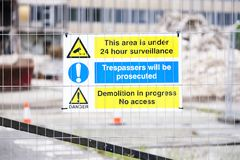 Free Demolition Site Building Collapse Hazard Danger Sign Stock Images - 151445574