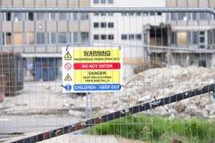 Demolition site building collapse hazard danger sign. Uk stock photography