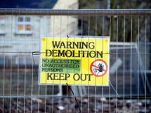 Demolition site- keep out. A demolition site sign warning people to stay away from Stock Photography