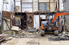 Demolition. Of a small building in a Japanese town Stock Photo