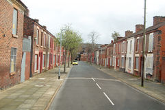 Demolition Street. Street of derelict houses in england condemned for demolition Royalty Free Stock Photo