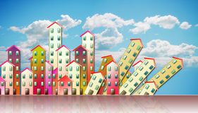 Demolition of an urban agglomeration - concept illustration agai Royalty Free Stock Images