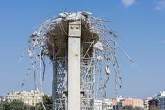 Demolition of an urban bridge royalty free stock photography