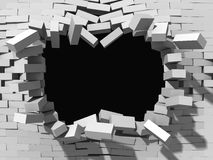 Demolition of white brick wall. Architecture background. 3d render illustration Stock Images
