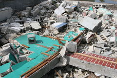 Demolition work. A picture of a building being demolished royalty free stock images