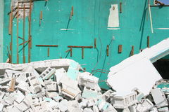 Demolition work. A picture of a building being demolished royalty free stock photo