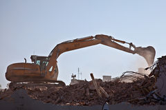 Demolition work. Demolition of old brick building Stock Photo