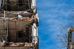 Demolition work of office building. In Madrid Royalty Free Stock Images